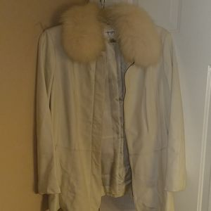 Cream Fur Leather Jacket